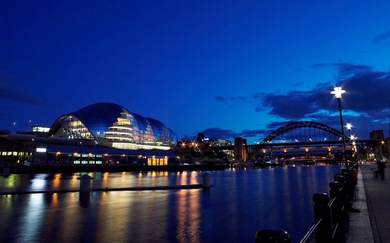 Newcastle's Quayside hosts live music venues, art galleries, theaters and eateries.